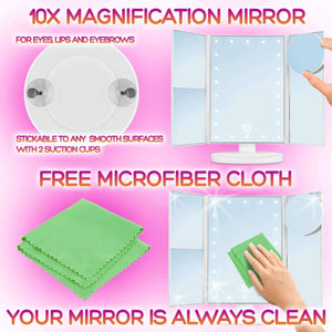 Online shopping lighted makeup mirror with lights makeup vanity mirror with lights and magnification make up mirrors lighted magnifying portable trifold cosmetic mirror with long 6 6ft usb cable and charger