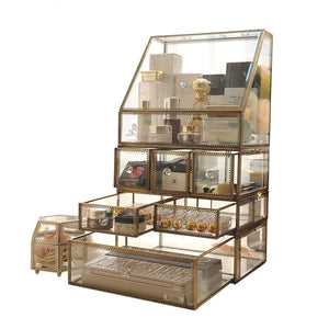 Budget friendly home decor accents display clear glass brass metal mirror storage for jewelry cosmetic makeup organizer drawers with lid non acrylic individual use stackable case