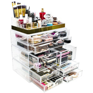 Best sorbus acrylic cosmetic makeup and jewelry storage case display with gold trim spacious design great for bathroom dresser vanity and countertop gold set 2