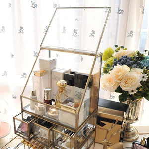 Shop for hersoo large cosmetics makeup organizer transparent bathroom accessories storage glass display with slanted front open lid cosmetic stackable holder for makeup brushes perfumes skincare
