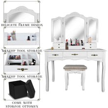 Load image into Gallery viewer, Select nice vanity beauty station tri folding necklace hooked mirrors 6 organization 7 drawers makeup dress table with cushioned stool and storage ottoman white
