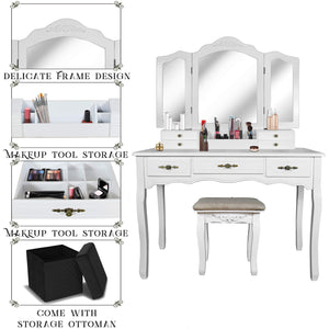 Select nice vanity beauty station tri folding necklace hooked mirrors 6 organization 7 drawers makeup dress table with cushioned stool and storage ottoman white