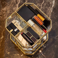 Load image into Gallery viewer, Online shopping putwo makeup organizer 360 degree rotating 3 layers large multi function makeup storage glass vintage cosmetic organizer for countertop bathroom dresser fits different types of cosmetics gold