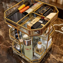 Load image into Gallery viewer, Order now putwo makeup organizer 360 degree rotating 3 layers large multi function makeup storage glass vintage cosmetic organizer for countertop bathroom dresser fits different types of cosmetics gold