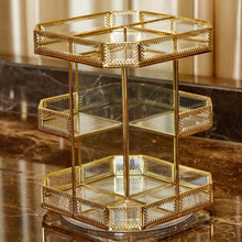 Load image into Gallery viewer, On amazon putwo makeup organizer 360 degree rotating 3 layers large multi function makeup storage glass vintage cosmetic organizer for countertop bathroom dresser fits different types of cosmetics gold