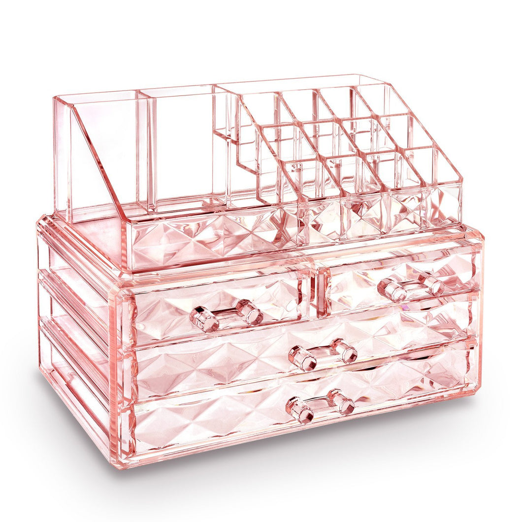 #COMS8246 Diamond Pattern Acrylic Jewelry & Cosmetic Organizer