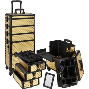 4 in 1 Rolling Professional Makeup Case w/ 4 360 Spinning Wheels