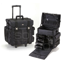 Load image into Gallery viewer, Professional Soft Sided Rolling Makeup Case w/ Drawers