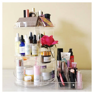 Rotating Makeup Organizer with Storage Tray
