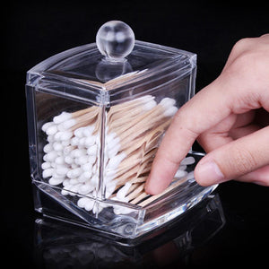 New Acrylic Cotton Swabs Storage Holder Box Transparent Makeup Case Cosmetic Container
