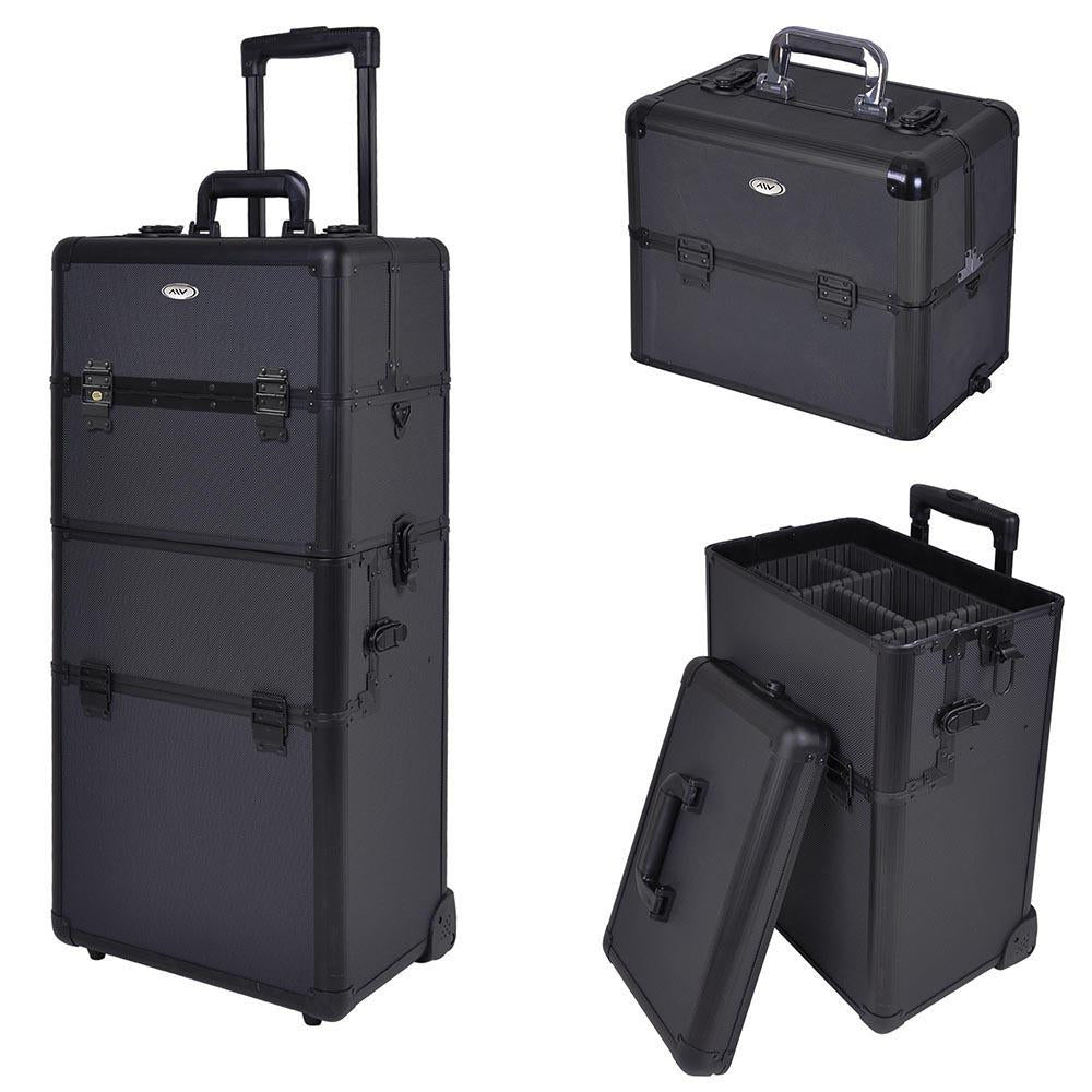 AW Cosmetic Makeup Case On Wheels Black