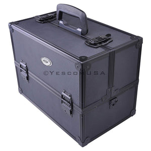 AW Aluminum Train Cosmetic Makeup Case Black Portable ABS