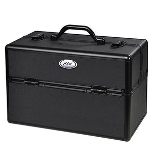 AW Makeup Train Case Lockable ABS Cosmetic w/ Drawer Black