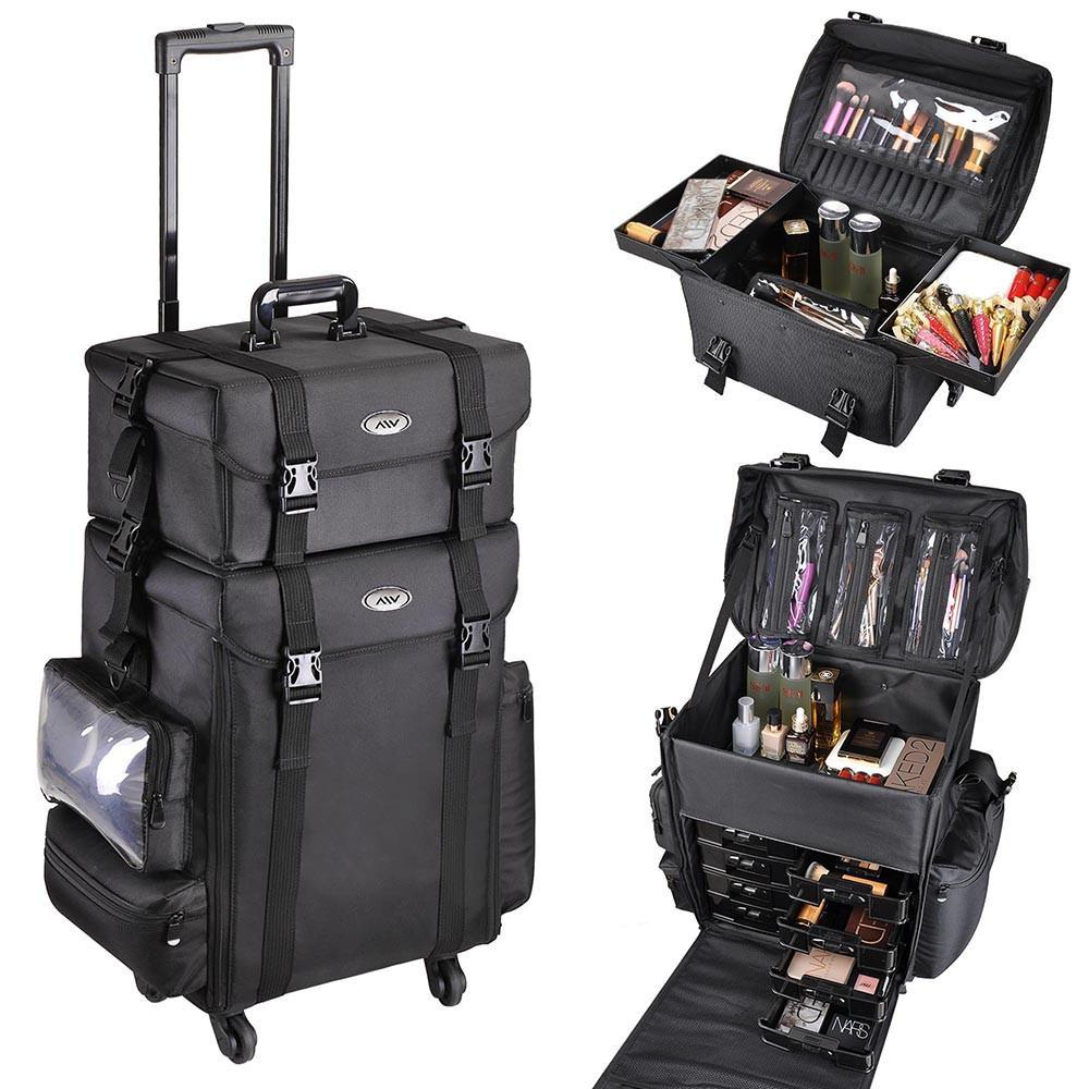 AW 2in1 Rolling Cosmetic Makeup Case Nylon Black