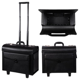 Black Rolling PVC Makeup Train Cosmetic Case Hair Stylist
