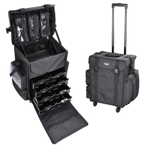 AW Cosmetic Makeup Case Trolley Extra Large Nylon w/ 4 Casters