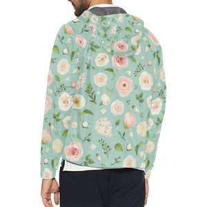 Lisianthus Pattern Print Design 01 Unisex Windbreaker Jacket
