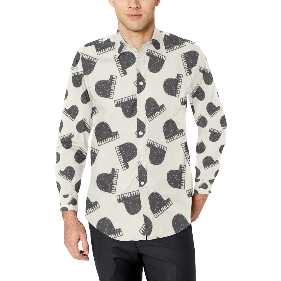 Piano Pattern Print Design 04 Long Sleeve Dress Shirt