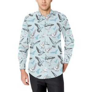 Pigeon Pattern Print Design 03 Long Sleeve Dress Shirt