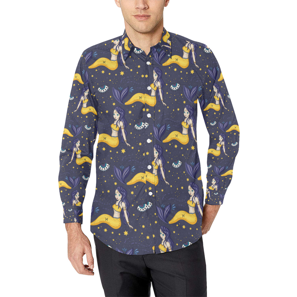 Pisces Pattern Print Design A04 Long Sleeve Dress Shirt