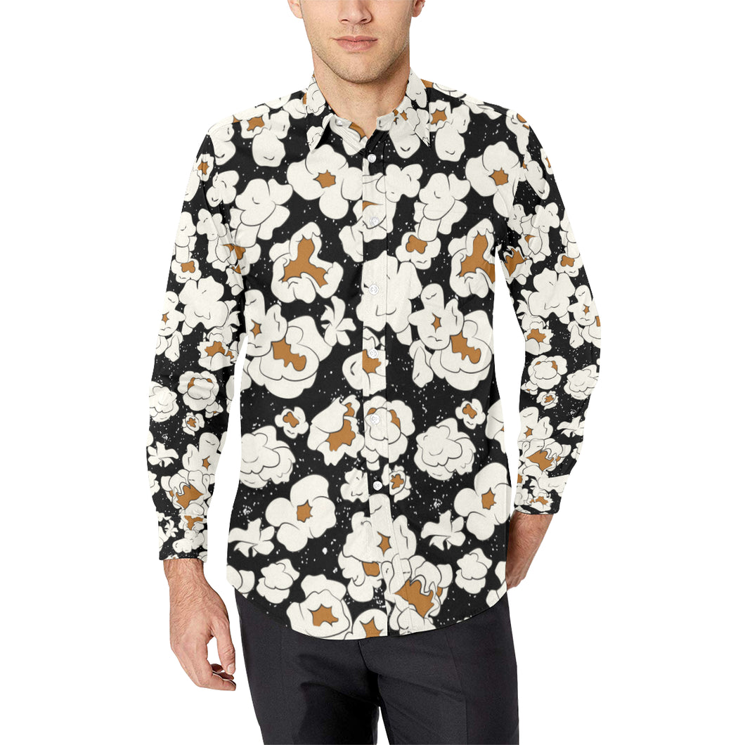 Popcorn Pattern Print Design A02 Long Sleeve Dress Shirt