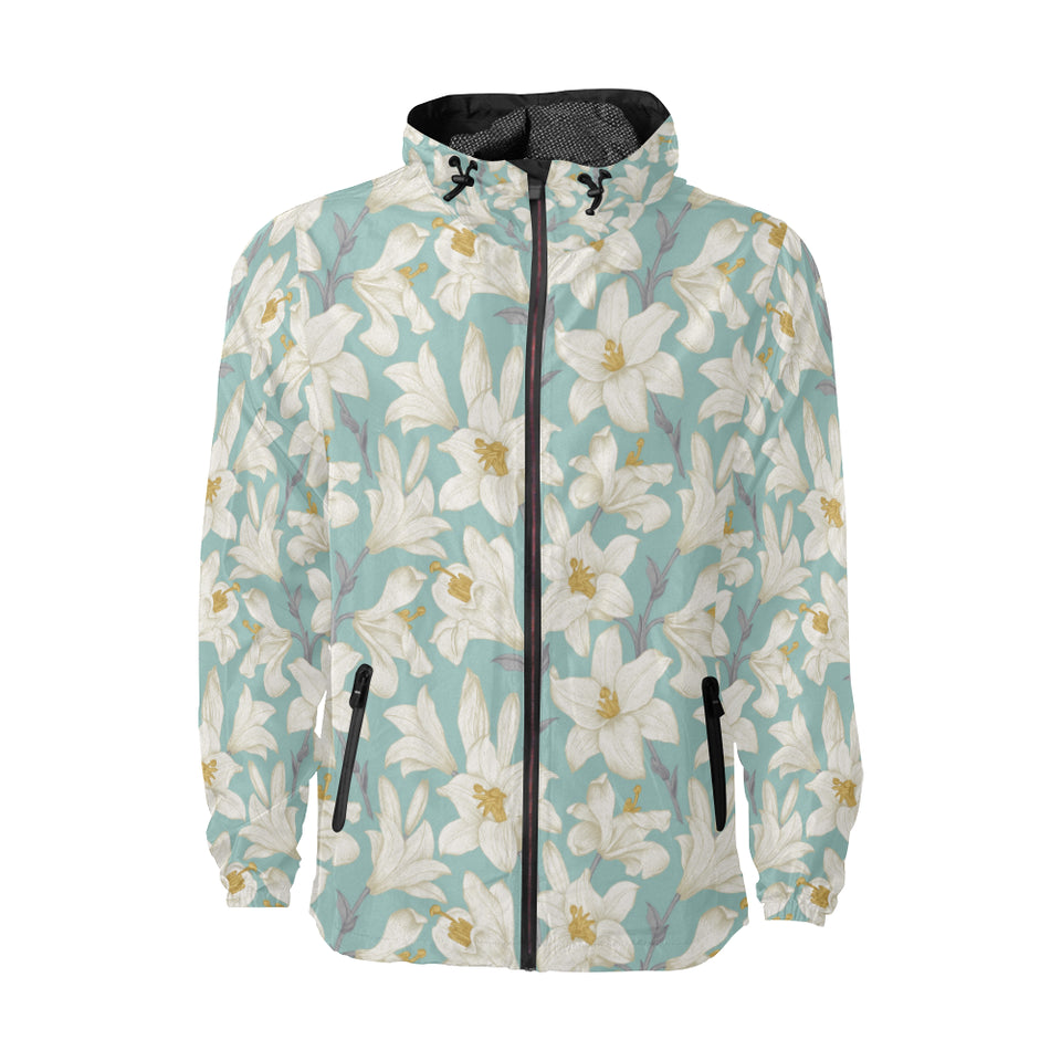 Lily Pattern Print Design 02 Unisex Windbreaker Jacket