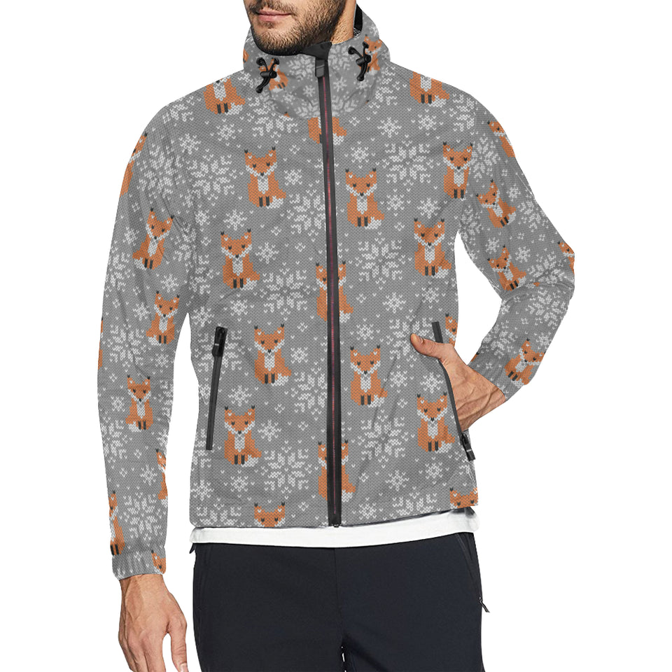 Knit Red Fox Pattern Print Design 02 Unisex Windbreaker Jacket