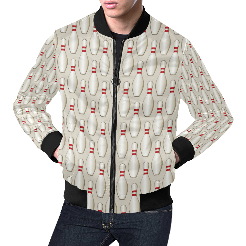 Bowling Pin Pattern Print Design 01 Men Bomber Jacket