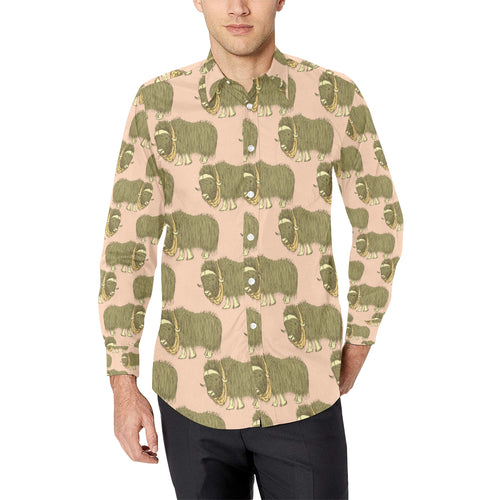 Yak Pattern Print Design 01 Long Sleeve Dress Shirt