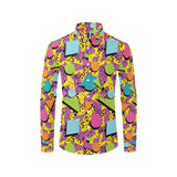 80s Pattern Print Design 1 Long Sleeve Dress Shirt