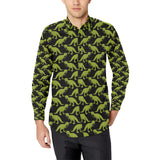 T Rex Pattern Print Design A02 Long Sleeve Dress Shirt
