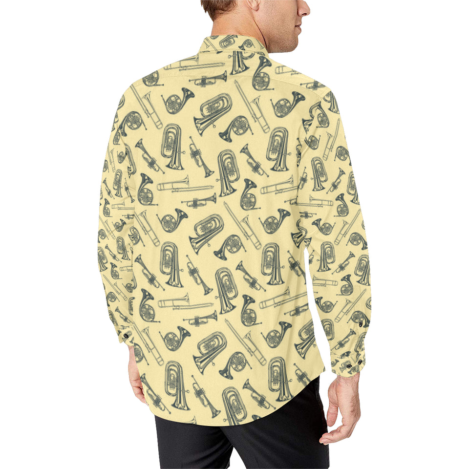 Tuba Pattern Print Design 01 Long Sleeve Dress Shirt