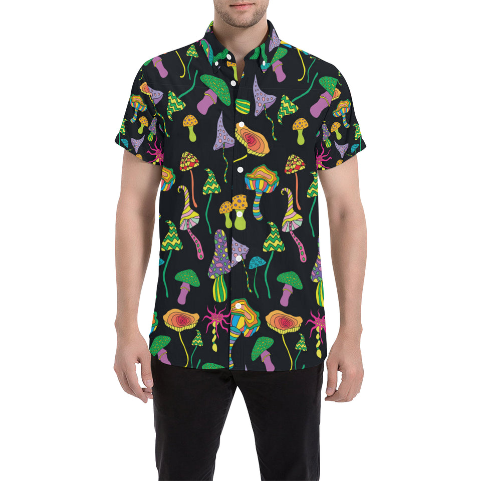 Psychedelic Mushroom Pattern Print Design A02 Button Up Shirt