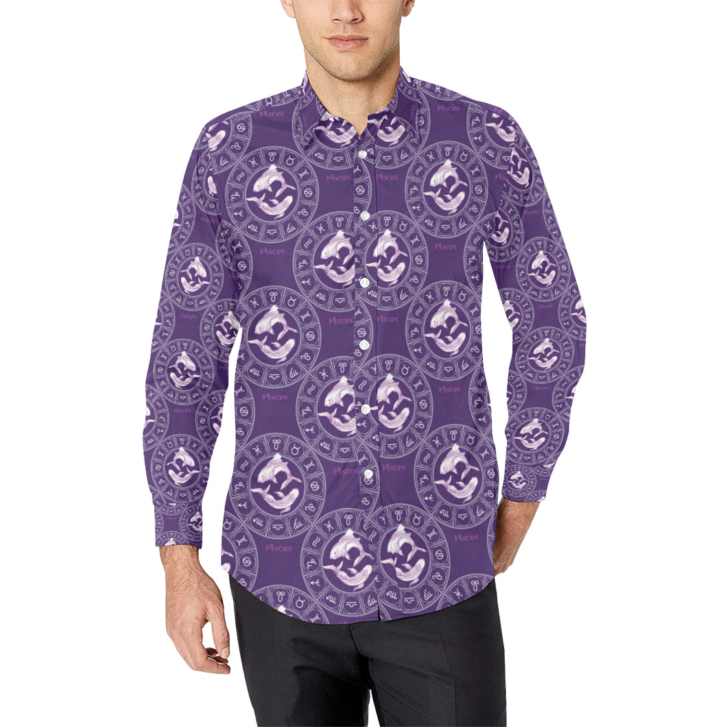 Pisces Pattern Print Design A02 Long Sleeve Dress Shirt