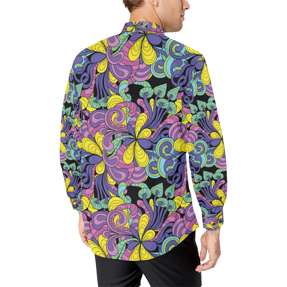 Psychedelic Pattern Print Design A04 Long Sleeve Dress Shirt
