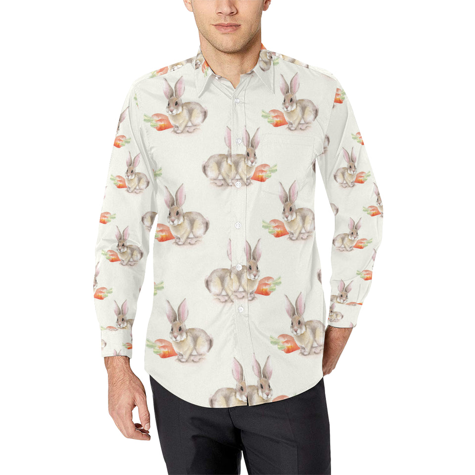 Rabbit Pattern Print Design 01 Long Sleeve Dress Shirt
