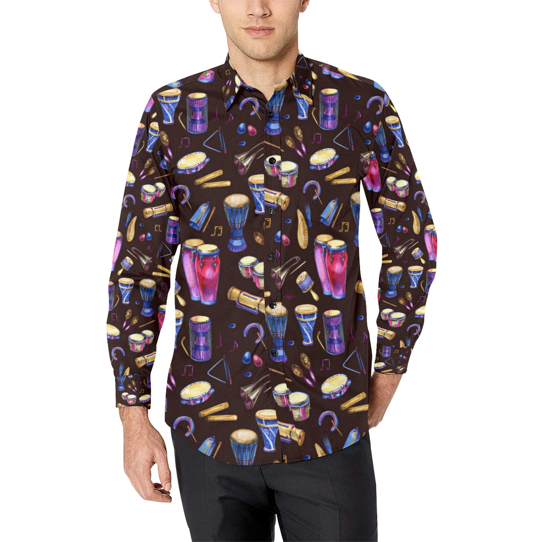 Percussion Neon Pattern Print Design 04 Long Sleeve Dress Shirt