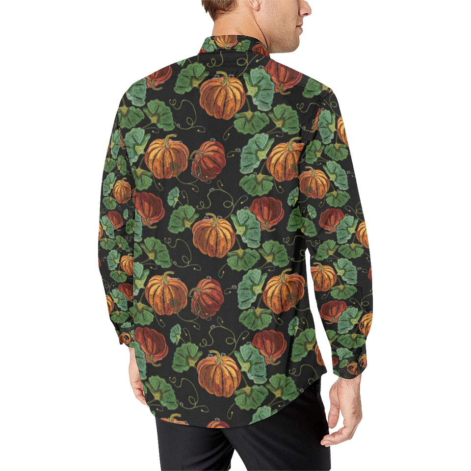 Pumpkin Pattern Print Design A02 Long Sleeve Dress Shirt