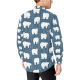 Polar Bear Pattern Print Design A01 Long Sleeve Dress Shirt