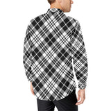 Plaid Black White Pattern Print Design A02 Long Sleeve Dress Shirt