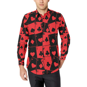 Poker Cards Pattern Print Design A01 Long Sleeve Dress Shirt