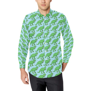 T Rex Pattern Print Design A01 Long Sleeve Dress Shirt