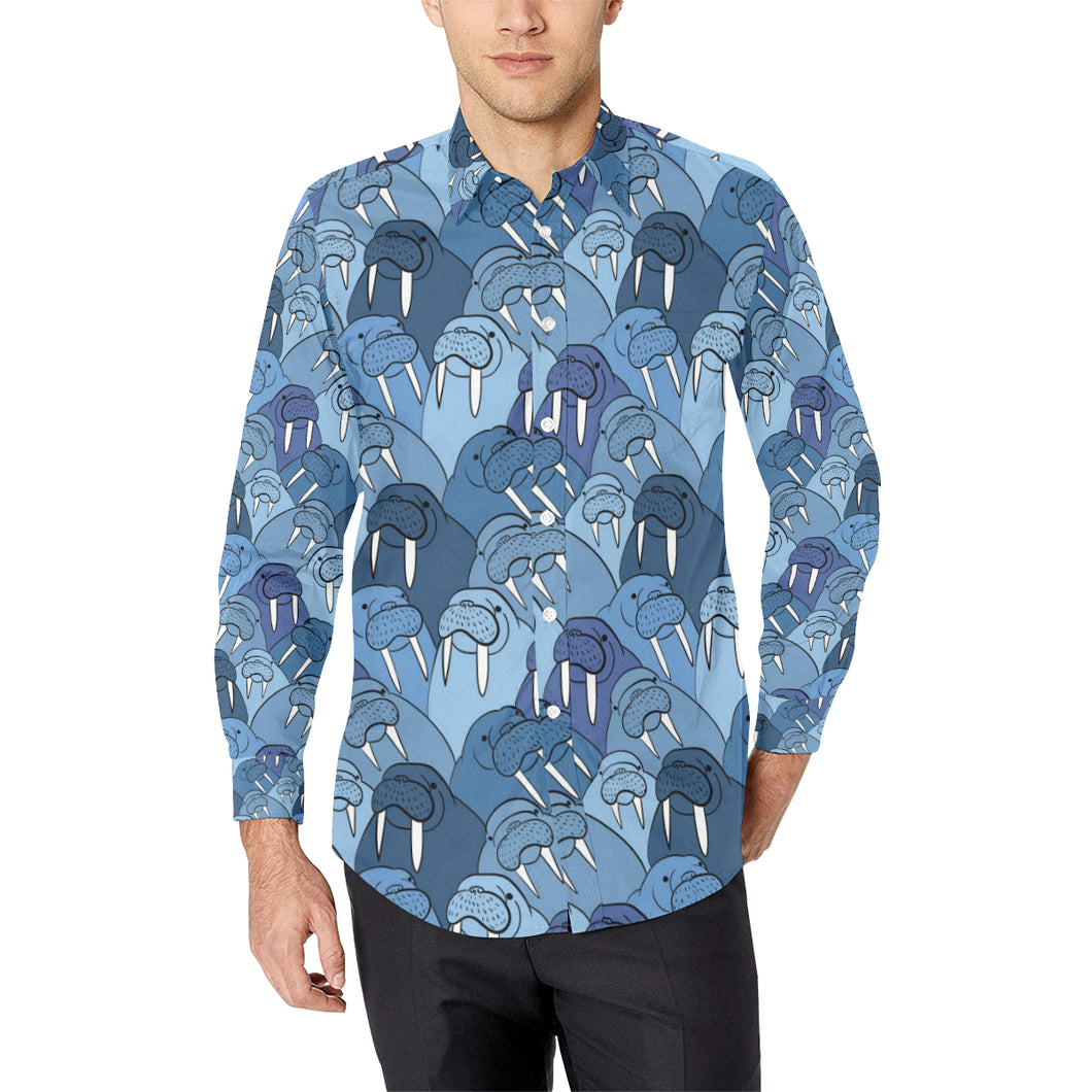 Walrus Pattern Print Design 01 Long Sleeve Dress Shirt