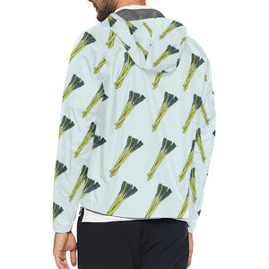 Leek Pattern Print Design 03 Unisex Windbreaker Jacket