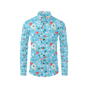 Medical Pattern Print Design 06 Long Sleeve Dress Shirt