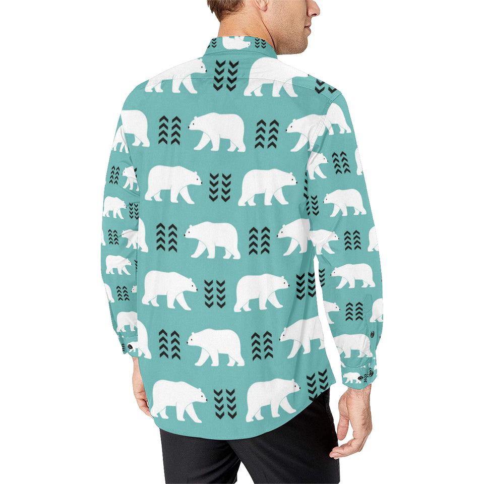 Polar Bear Pattern Print Design A05 Long Sleeve Dress Shirt