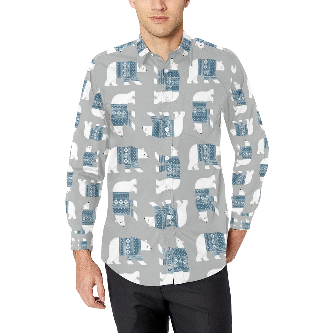 Polar Bear Pattern Print Design A03 Long Sleeve Dress Shirt