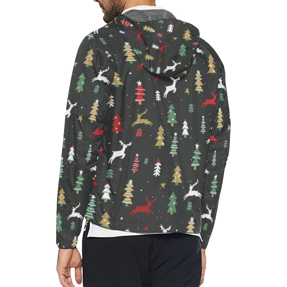 Christmas Tree Deer Style Pattern Print Design 03 Unisex Windbreaker Jacket