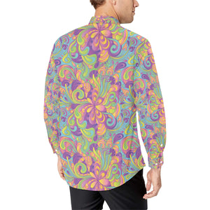 Psychedelic Mushroom Pattern Print Design A05 Long Sleeve Dress Shirt