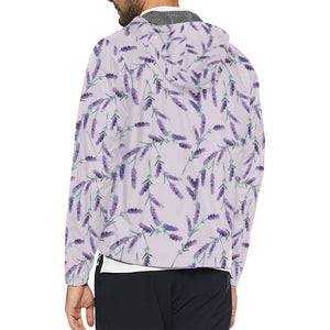 Lavender Pattern Print Design 02 Unisex Windbreaker Jacket